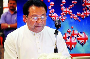 Minister of Higher Education, S. B. Dissanayake, speaks at the official opening ceremony of the 20th�Annual British Council Education UK Exhibition held at Hilton Colombo last Saturday