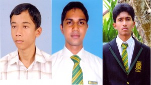 The three students who obtained the district first ranks in Science, Maths and Commerce streams at the 2012, G.C.E.(A/L) examination.