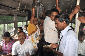 Passengers in the Battaramulla bus
