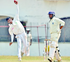 Benedictine spinner Yohan Soysa was instumental in dragging down Wesley at Kotahena.  - Pic by Amila Gamage