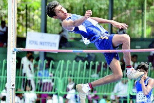 Action from the  second day of the  International Schools' Athletic Championships. Pic by Amila Gamage.