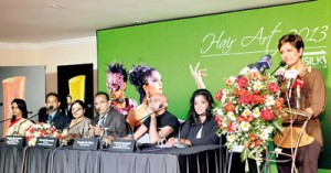 Ramani Fernando speaks at the press  conference for 'Hair Art 2013' held at the Galadari Hotel
