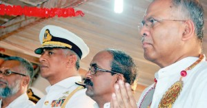Political ripples: From L to r: Minister Douglas Devanada, Northern Naval Commander Rear Admiral S. Udawatte, Indian Consul General V. Mahalingam and Indian High Commissioner Ashok Kantha