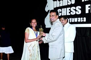 M. Rajadharshini receiving her award