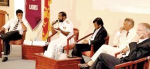 From L to r: Dr.Terney Pradeep Kumara, , Vice Admiral Jayanath Colombage, Asanga Abeyagoonasekera, Executive director of Lakshman Kadirgarmer Institute, Dr. SinhaRaja Tammita Delgoda – Senior Lecturer, Bandaranaike Centre for International Studies and Patrick T. Evans FAO Representative for Sri Lanka and the Maldives