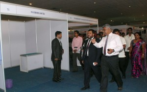 Minister Rishad Bathiudeen passes  an empty Stall at the fair. Pic by M.D.Nissanka