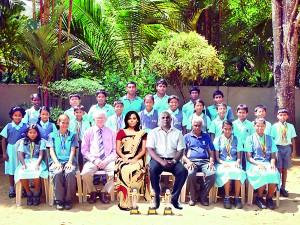 Lyceum, Nugegoda swimming team Standing (from left, 1st�Row): Umandi Wickramaratne, Nathan Savundranayagam, Ayeshmantha Wijegunathilake, Pandula Lalawindu, Binura Nanayakkara, Pasindu Perera, Disnaka Ediriwickrama. (from left, 2nd�Row): Dhinuthri Senanayake, Yana Hettigedara, Janith Wickramanayake, Sachin Kaluarachchi, Rishni Lanerole, Anuji Dias, Aroshi Kuruppu, Ovin Gamage, Kasmin Wijesekara, Vimuth Mendis, Savin Kaluarachchi. (Absent: Nudara Pathirage, Budara Wickramasinghe) Seated (from left): Vilara Ranasinghe, Kimberly Karpinski (Captain), Sam Chandrasena (Director-ECA/PE), Wenuri Hettiarachchi (Principal), Nishantha Perera (Chief Coordinator), J.A.S. Somachandra (MIC), Dimuthu Yakkandawala, Sabeeha Murad.