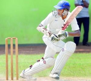 S. Thomas' batsman Nipuna Gamage in action against St. Sebastian's at Moratuwa.- Pic by Ranjith Perera