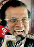 It was a minor incident:  Minister Sirisena addressing the media