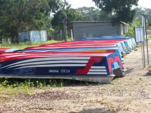 The boat manufactured at the Jayapuram Kilinochchi Boatyard lined up for distribution