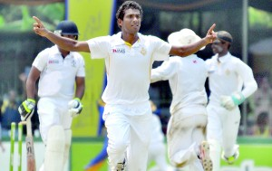 Chamika Karunaratne took a match bag of nine wickets to steer Royal. - Pics by Amila Gamage