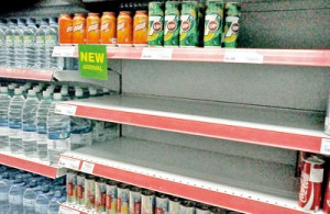 Bare shelves: Pix by Mangala Weerasekera