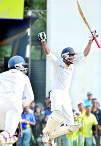 Royal deputy skipper Milan Abeysekara jumps with joy after hitting the winning boundary