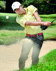 Vijitha Bandara, the top amateur golfer in Sri Lanka hopes to go a long way. - Pix by Amila Gamage