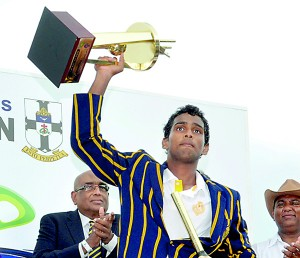 Triumphant Chamika with the man-of-the match award
