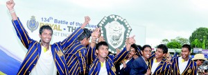 Jubilant Royal cricketers with the prestigious D.S. Senanayake Memorial Shield