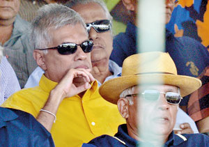 Opposition leader Ranil Wickremesinghe at the match yesterday