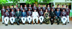 St. Thomas' cricket squad with officials