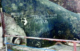 Students warned and released for defacing Lions paw