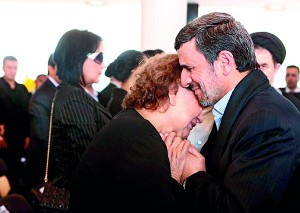 Controversy: This photo of President Ahmadinejad closely embracing Elena Frias de Chavez was slammed by religious conservatives in Iran