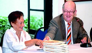 At the book launch: Deloraine Brohier (left) with chief guest Dutch ambassador Louis W.M. Piet. Pic by Indika Handuwela