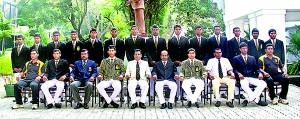 DSS cricket squad: Seated (from left): Mohomed Azhar (Asst Coach), Harith Maduwantha, Nihal Fernando (MIC), Duleeka Brahmanage (Captain), D.M.D. Dissanayake (Principal), K.P. Munagama (Vice Principal), Supun Madushanka (Vice Captain), Kapila Pradeep (POG), Binura Fernando, Pasan Manasinghe (Coach). Standing (from left): Angelo Raveendran, Geeth Perera, Kanishka Prashan, Nadeesha Dhanukshika, Akeel Inham, Suchintha Karunaratne, Raveen de Silva, Uvin Bandara, Thimila Vidyasakara, Kavin Bandara, Nimesh Weragala, Udesh Sendanayake, Vishal Amugoda, Shifran Muthalif.