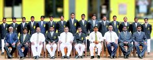 Mahanama cricket squad:  Seated (from left): Shiraz Samsudeen (Head Coach), Lesley Harischandra (MIC), D.H.P. Kalubowila (Deputy Principal), Pavan Devinda (Captain), Senarath Bandara (Principal), Naveen Silva (Vice Captain), M.V.S. Gunathilake (Deputy Principal), Cyril Silva (POG), Rusiru de Silva (President, MCDC), Manjuka Perera (asst. Coach). Standing (from left): Tharanga Madushanka, Sahan Peiris, Kalana Ashan, Dinuka Karunananda, Dulanjana Seneviratne, Dulanja Malshitha, Chamara Silva, Nayana Prabath, Gihan Sajeewa, Subuddhi Kaushalya, Kalindu Lakshan, Thanula Sandesh, Senura Welagedara, Praneeth Satharasinghe, Kavinga Darshana.