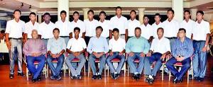 Back row standing from left: Shanuka Kodithuwakku, Heshan Kumarasiri, Isuru Gunathilaka, Roanaka Ahangamage, Anupa Tillekeratne, Randev Pathirana, Chamika Karunaratne, Sampath de Silva, Hashan Ramanayake, Poorna Aluthge, Harith Samarasinghe, Kaveesha Yapa, Shaminda Dias and Umesh Sooriyabandara. Seated from left:  Gihan Sugathapala, Dilip Somaratne (Director Royal College Cricket), Milan Abeysekera (Vice captain), Upali Gunasekera (Principal Royal College), Devind Pathmanathan (Captain), Neil Rajapaksha (Coach),  Jayantha Amerasinghe and Ray de Silva.