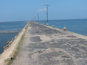 Vast water mass  on either side of approach roads to islands in Jaffna