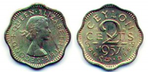 A 1957  2  cent coin