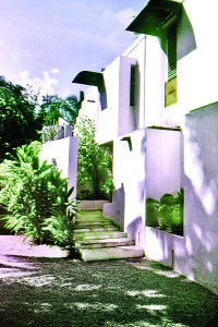 Simple lines: The entrance to the Lagoon house