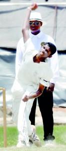 Moratu Vidyalaya's Dushan Sulakshana delivers a ball - Pic by Ranjith Perera