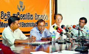 A news conference denouncing the proposed hikes held by the Movement for Electricty Consumers. Pix by Hasitha Kulasekera