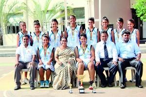Front Row – L to R: Tharindu Fernando (Head Coach), Judith Fernando (Vice Captain), Mrs. Rohini Alles (Managing Director), Sandali Weerasinghe (Captain), Mr. Dervin Perera (Head of Sports), Mr. Fawzan (Teacher in charge) Back Row – L to R: Kalani De Silva, Hirushi De Soysa, Nethma Arsakulasuriya, ShazrinaRizvi, Lihini Perera, PasiniWithanage, Shanilie Ranatunga, and Shenuka Wakkumbura.