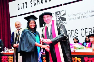 Part II Student receiving the award from The Vice Chancellor of the University of the West of England
