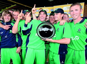 The Irish cricketers celebrate a victory in Sharjah.