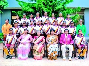 Seated from left to right: Kavishka Virajini (Vice captain) Mrs. Anjana Abeyrathne (Teacher-In-Charge) Mrs. E Goonewardena (Principal), Miss Sriyani Perera (Vice Principal) A.N. Perera (Coach) Chammi Wasana (Captain) 2nd row from left to right: Nipuni Wathsala, Kushani Charthurya, Malindi Maleesha, Sayani Pramodya, Isuruni Nisansala , Dilini Subhadhini , Ashika Rajudeen, Samadhi Mandira, Chamodhi Sandeepani, Raweesha Yajini. 3rd row from left to right: Ayathma Thamaradini, Dulani Sandeepa, Chothumini Lakna, Sandunika Chathurangi, Nimmi Rashmila, Shasini Dias, Parindya Vihari , Erandi Heshani.