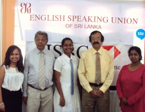 Standing from left to right - Ms.Senela Jayasuriya (Committee Member ? ESU, Sri Lanka Chapter), Mr.Upali� Ratnayake (President ? ESU Sri Lanka Chapter), Miss Shehani Rajendra (Winner), Mr. Tilak Amerasinghe (Vice President ? ESU Sri Lanka Chapter) and Ms. Dhammika Amerasinghe (General Secretary ? ESU Sri Lanka Chapter)