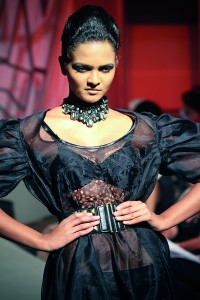 One of Amanda Weerasinghe's creations on the catwalk