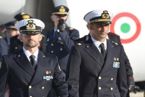 Italian marines Massimiliano Latorre (right) and Salvatore Girone arriving at Ciampino airport near Rome in December 2012. AFP