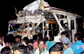 25 injured in bus-train collision at unprotected crossing