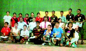 St. John's shuttlers with their awards