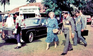 A friend of Lanka: British Prime Minister Margaret Thatcher arriving at the Air Force ground in Colombo to board a helicopter on her way to open the Victoria dam in 1985. With her in the picture are Air Force Commander Dick Perera and Squadron Leader Ravi Arunthavanathan, the Aid de Camp. President Jayewardene is also in the picture.