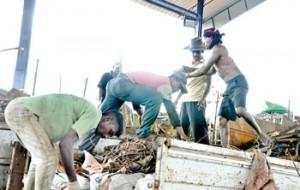Men at work at Chandana's scrap yard. Pix by Susantha Liyanawatte