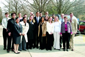 Young Illinois Senator Barack Obama visits Augustana College in Rock Island in Feb 2005 to meet with the student leaders. Madushika is in the first row far left.