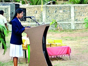 The Best O/L result student compering the Prize Giving