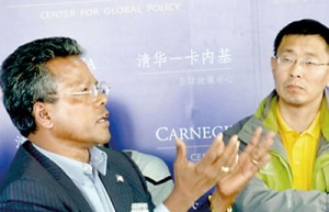 Prof. Patrick Mendis at the Carnegie-Tsinghua Center for Global Policy at Tsinghua University after speaking at the China Academy of Social Sciences and the China Foreign Affairs University in Beijing.