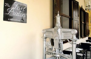 Remnants of a bygone era:  A press, painted silver stands on the verandah and the prefect's room