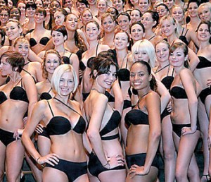 100 models wearing Wonderbra's new Multiplunge bra arrive at the National Gallery in central London. But according to a new French study, women could be better off without the underwear staple