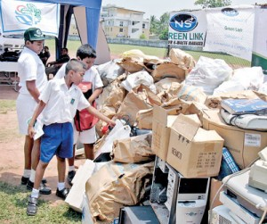 Collection of e-waste at Shalika Grounds in Narahenpita